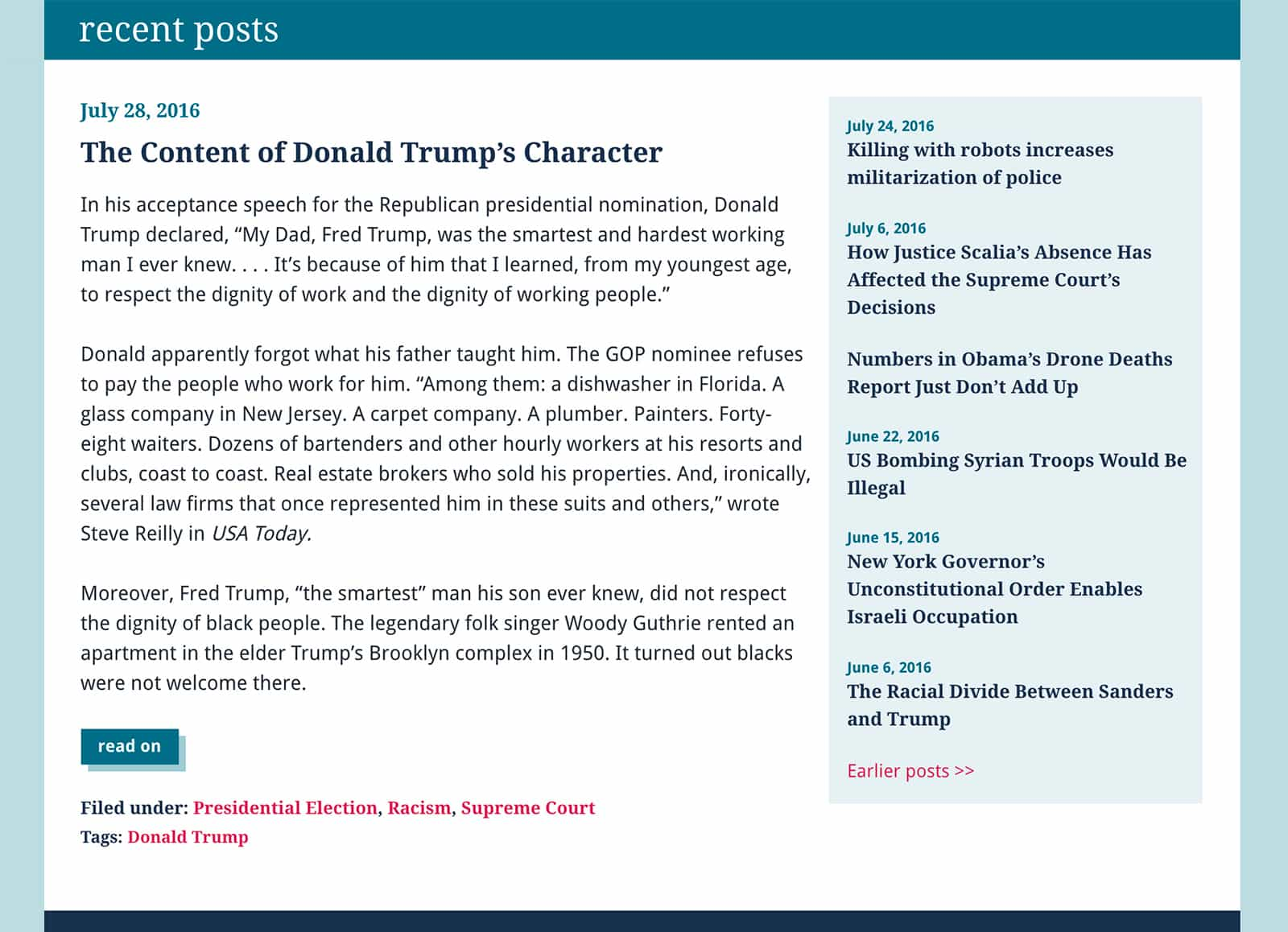 The Content of Donald Trumps character